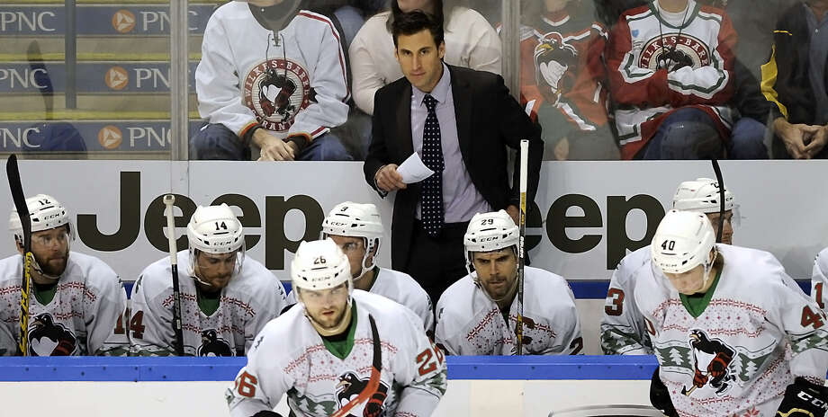 Wilkes-Barre Scranton Penguins interim head Coach Jay Leach looks on from the bench during an AHL hockey game against the Albany Devils, Saturday, Dec. 12, 2015 at the Mohegan Sun Arena, in Wilkes-Barre, Pa. (Mark Moran/The Citizens' Voice via AP) MANDATORY CREDIT ORG XMIT: PAWIC102 ORG XMIT: MER2015121717261035 Photo: Mark Moran / The Citizens' Voice