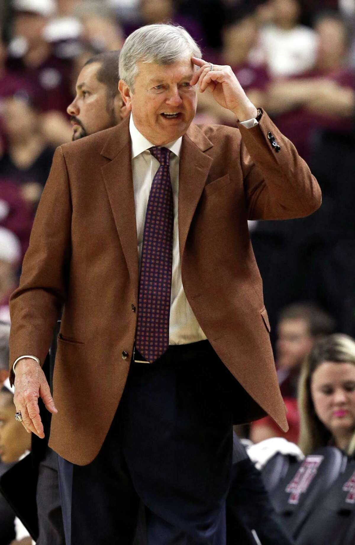 """Texas A&M coach Gary Blair tells a player to """"use your head"""" during the first half of an NCAA college basketball game against South Carolina Sunday, Jan. 31, 2016, in College Station, Texas. (AP Photo/Pat Sullivan)"""