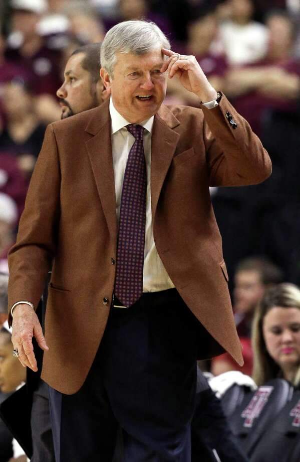 """Texas A&M coach Gary Blair tells a player to """"use your head"""" during the first half of an NCAA college basketball game against South Carolina Sunday, Jan. 31, 2016, in College Station, Texas. (AP Photo/Pat Sullivan) Photo: Pat Sullivan, Associated Press / AP"""