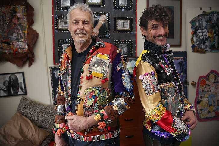 Fashion artist Bill Bowers (left) wears a Disneyland jacket as archivist John Vlahides (right)wears one of the Cocette jackets at home in San Francisco, California, on Friday,  January 29, 2016.