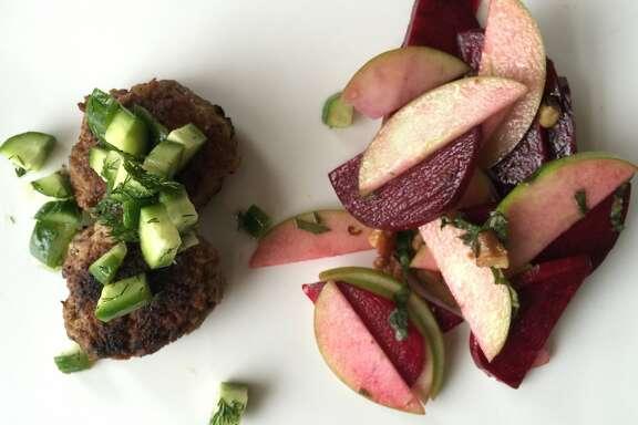 Turkey and apple sausage with beet-apple salad and walnut vinaigrette, from Sunbasket