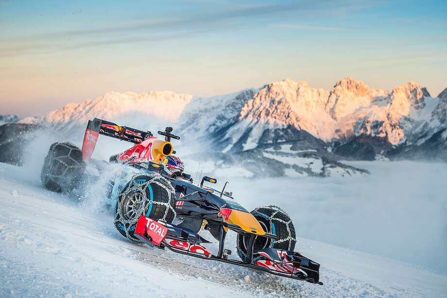 Max Verstappen performs during the F1 Showrun at the Hahnenkamm in Kitzbuehel, Austria on January 14, 2016. Photo: Red Bull Racing