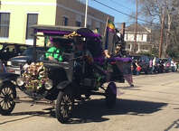 One of the many floats in Jasper first Mardi Gras parade photo by Shannon Stott