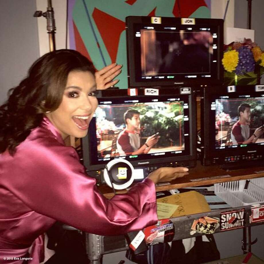 Eva Longoria watches the monitor as Sebastien De La Cruz does a fabulous first take on NBC's 'Telenovela.' Photo: Courtesy