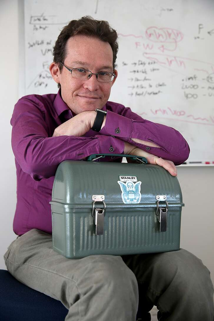 Nicholas Weaver talks about the Intrusion Detection system in his lunchbox that he's built at his office in Berkeley, California, on Monday,  February 1, 2016.  He assigned about twenty students a computer network assignment to build an NSA style surveillance system.