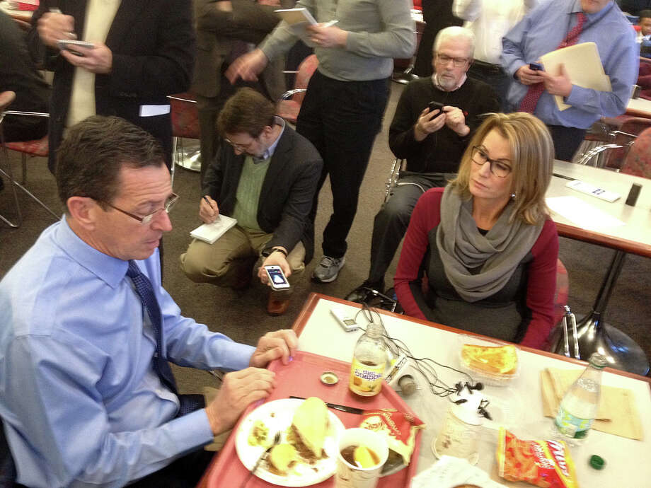 Gov. Dannel P. Malloy and House Minority Leader Themis Klarides, R-Derby, discussed potential budget cuts over lunch in the legislative cafeteria in January of last year. Photo: Ken Dixon / Ken Dixon / Connecticut Post