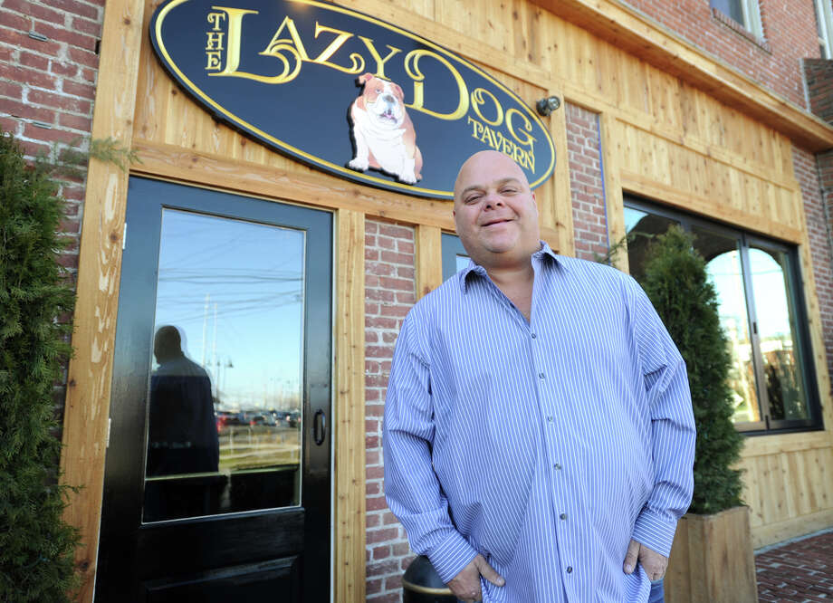 """Chris """"Chubby"""" Delmonico, of Fairfield, outside his new restaurant, The Lazy Dog Tavern, at 2505 Main Street in Stratford. Photo: Brian A. Pounds / Hearst Connecticut Media / Connecticut Post"""