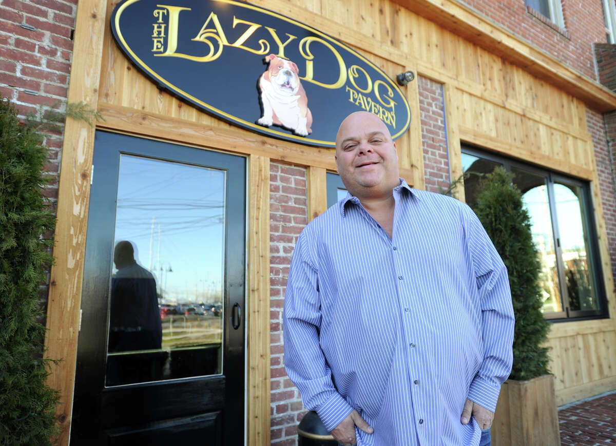 """Chris """"Chubby"""" Delmonico, of Fairfield, outside his new restaurant, The Lazy Dog Tavern, at 2505 Main Street in Stratford."""