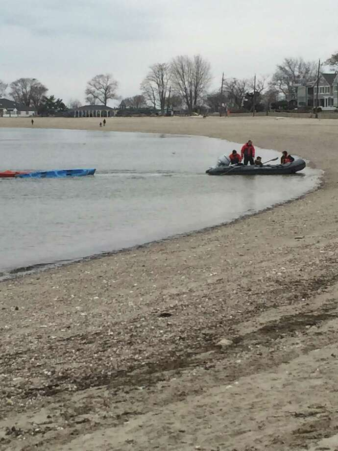 Two kayakers were rescued on Compo Beach in Westport on February 1, 2016 Photo: Contributed/Westport Police Department