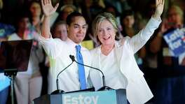 In this file photo, Democratic presidential candidate Hillary Clinton, right, campaigns with Housing and Urban Development Secretary Julian Castro. The United States Hispanic Chamber of Commerce has prematurely endorsed Castro to be her vice presidential nominee.
