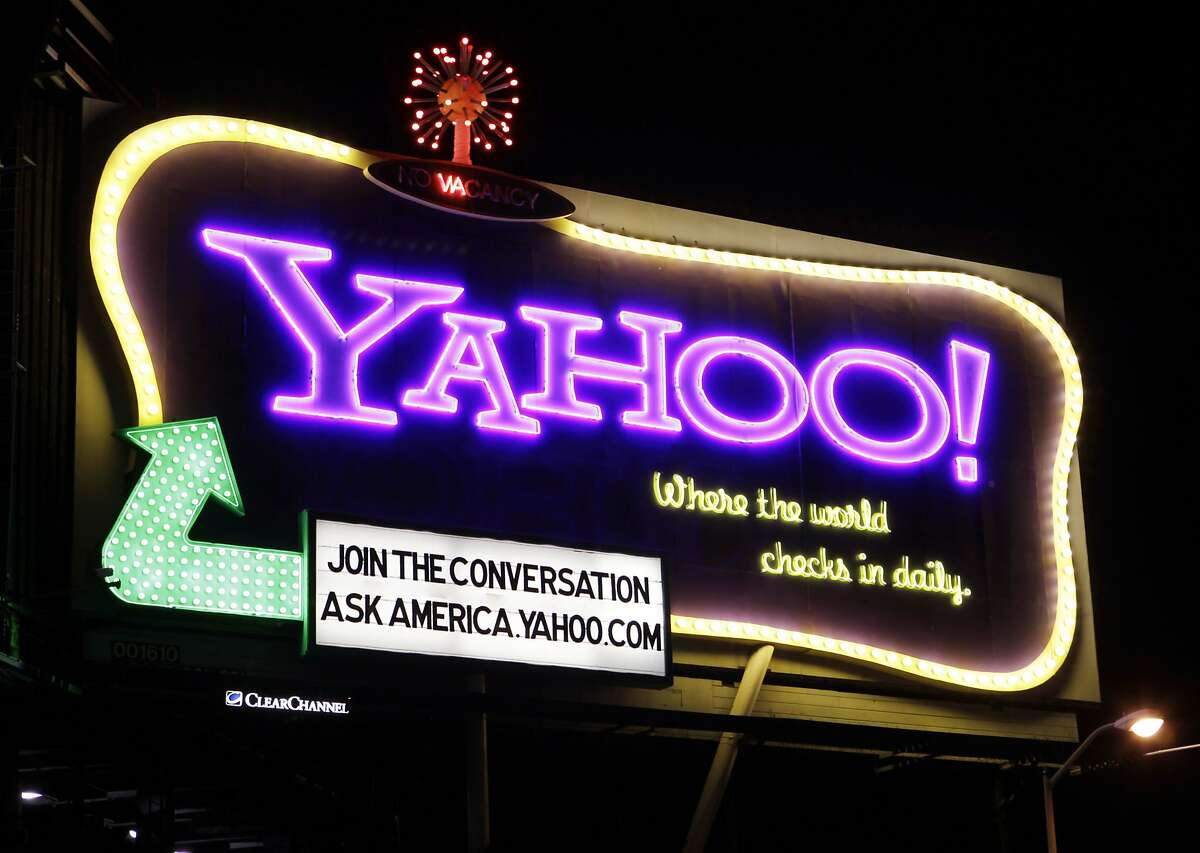 A 2010 file photo of a Yahoo signboard in San Francisco.