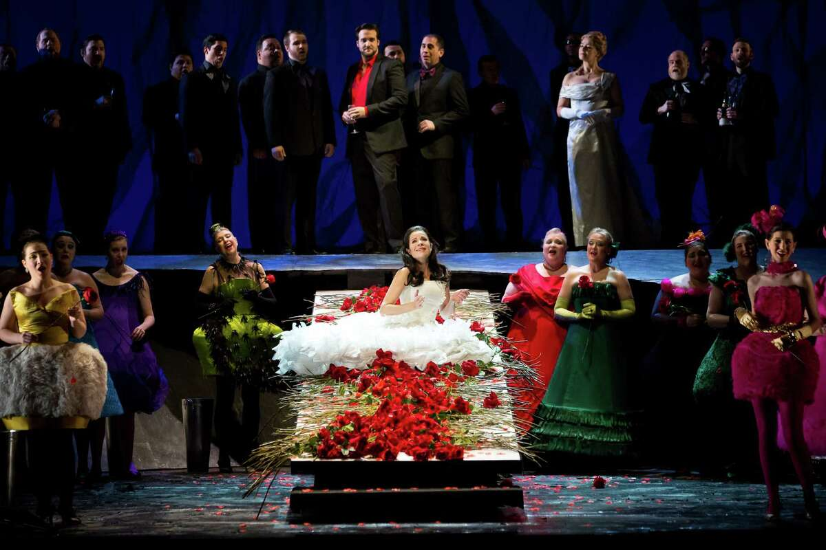 """Ana Maria Martinez (center) stars in the title role of """"Rusalka"""" at Houston Grand Opera. Prominent above her are Brian Jagde as the Prince, and Maida Hundeling as the Foreign Princess."""