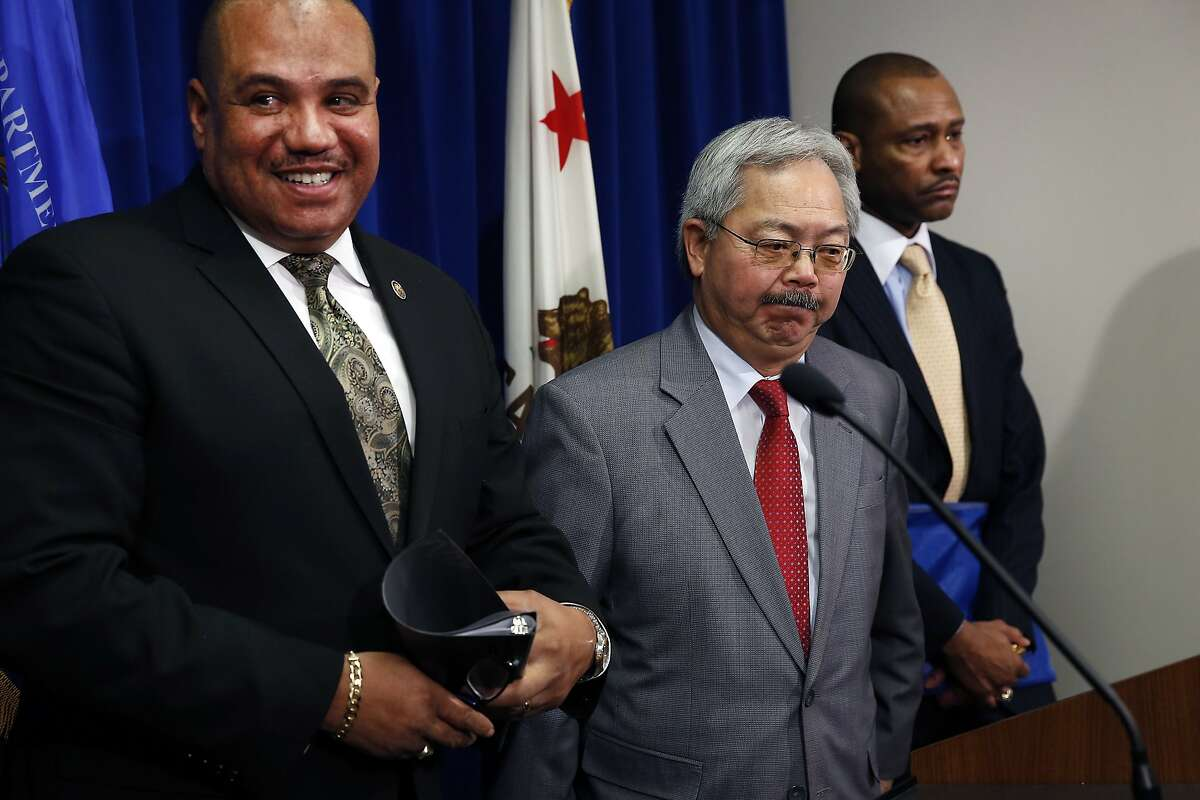 The DOJ's Office of Community Oriented Policing Services Director Ronald Davis, left, Mayor Ed Lee, and Chief Noble Wray of the Office of Community Oriented Policing Services stand together following press conference announcing a Department of Justice review of the San Francisco Police Department, at the Federal Building in San Francisco, CA Wednesday, February 1, 2016.