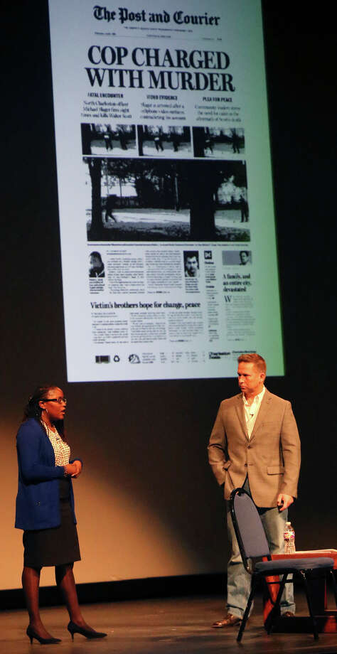 Journalists Christina Elmore (left) and Paul Zoeller (right) give a presentation Monday February 1, 2016 at San Antonio College about their coverage of recent racially charged events in Charleston South Carolina that have drawn national attention. Elmore is a reporter and Zoeller is a photojournalist for the Charleston Post and Courier. Photo: John Davenport, Staff / San Antonio Express-News / ©San Antonio Express-News/John Davenport