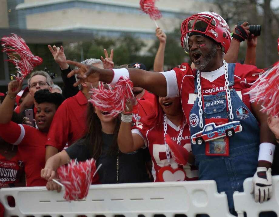 Herman Eagleton, aka Ol Skool, attends a P rally for the UH football team's Peach Bowl win outside TDECU Stadium on Monday, Feb. 1, 2016. Photo: Elizabeth Conley, Houston Chronicle / © 2016 Houston Chronicle