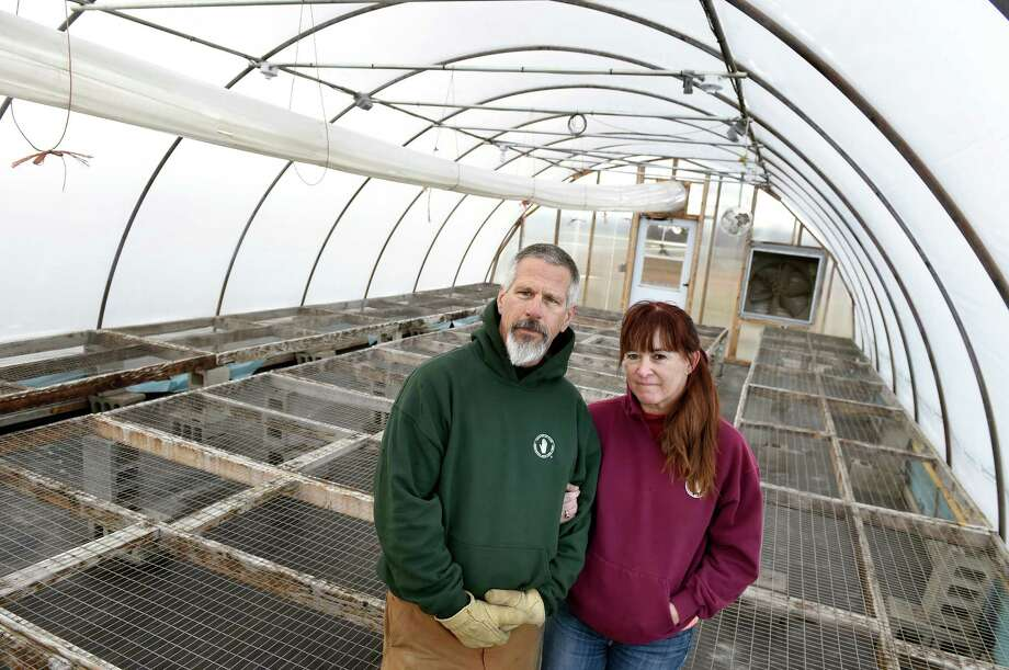 Farmer John Hand, left, and his partner Terry Kilmer in one of the hoop houses, where they start vegetable seedlings, on Jan. 26, 2016, at Hand Melon Farm in Easton, N.Y. (Cindy Schultz / Times Union) Photo: Cindy Schultz / Albany Times Union