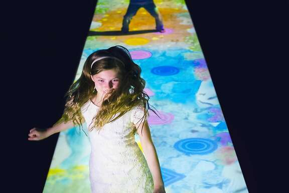 """Create! Hopscotch for Geniuses,"" a work by the artist collaborative teamLab, is one of 20 installations on view at the new Pace Art + Technology."