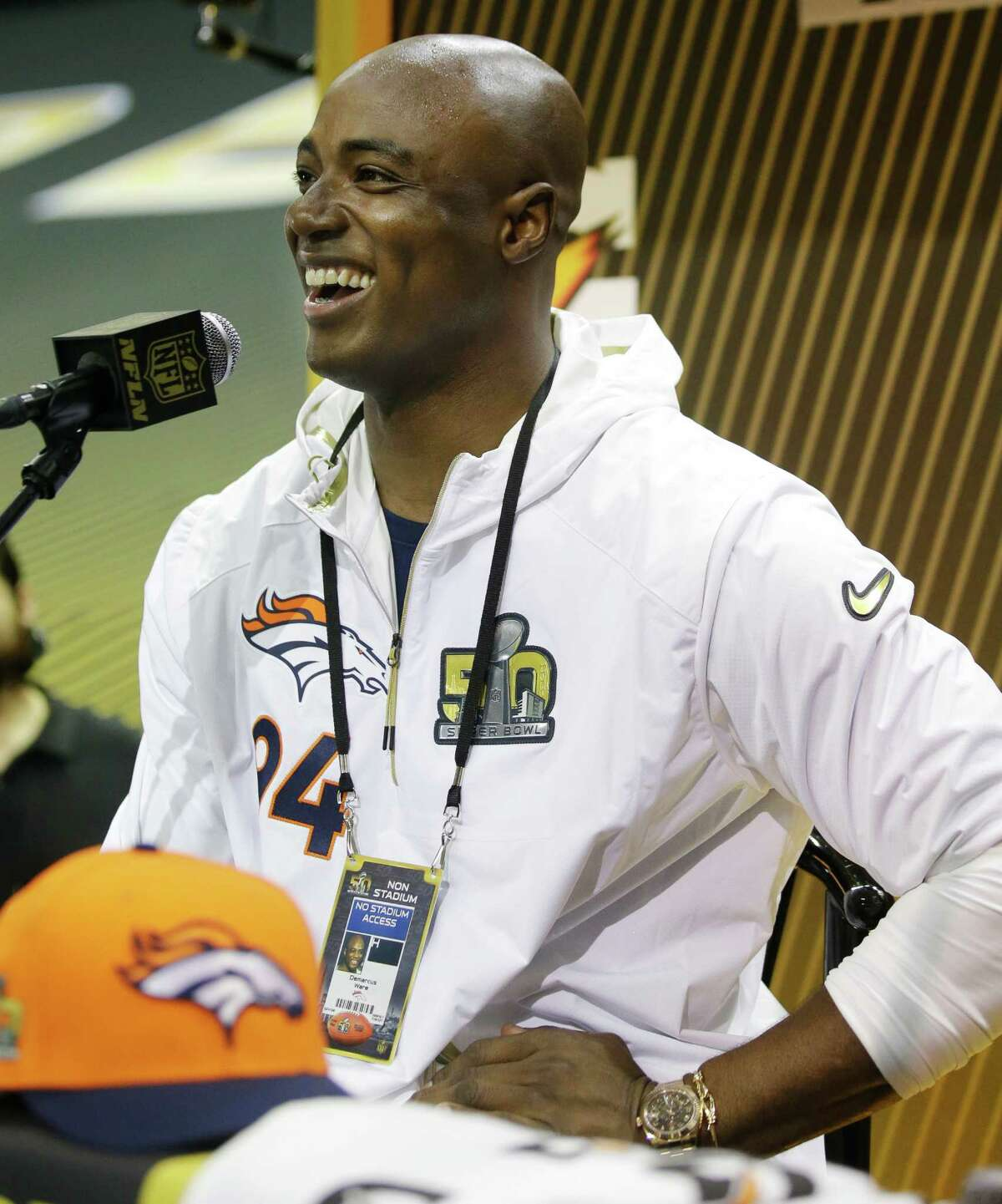 Denver Broncos outside linebacker DeMarcus Ware speaks to the media during Opening Night for the NFL Super Bowl 50 football game Monday, Feb. 1, 2016, in San Jose, Calif. (AP Photo/Marcio Jose Sanchez) ORG XMIT: NFL306