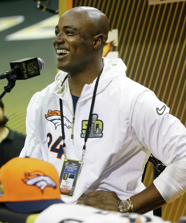 Denver Broncos outside linebacker DeMarcus Ware speaks to the media during Opening Night for the NFL Super Bowl 50 football game Monday, Feb. 1, 2016, in San Jose, Calif. (AP Photo/Marcio Jose Sanchez)  ORG XMIT: NFL306 Photo: Marcio Jose Sanchez / AP