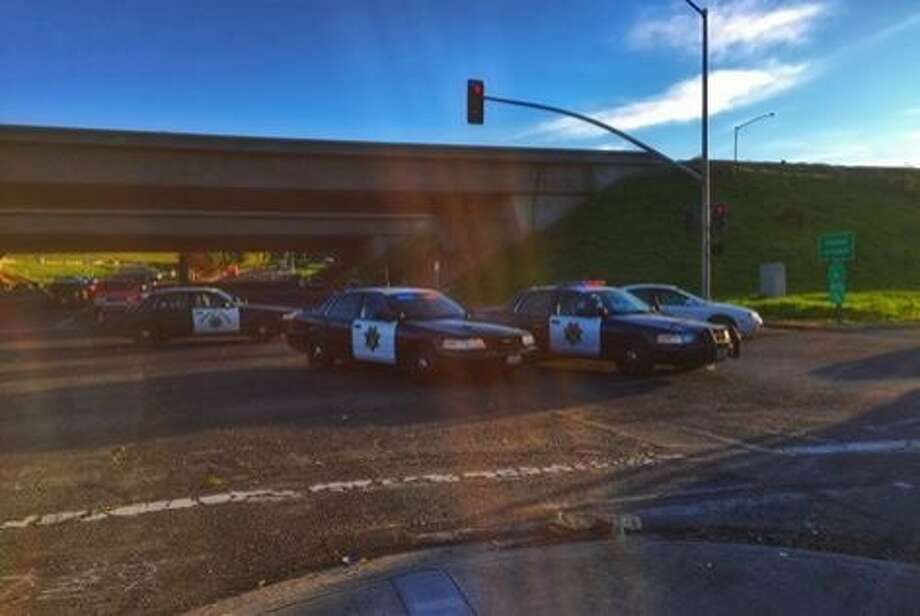CHP officers took three men into custody for their involvement in an alleged shooting and subsequent crash that injured seven people. Photo: Courtesy Of CHP Contra Costa