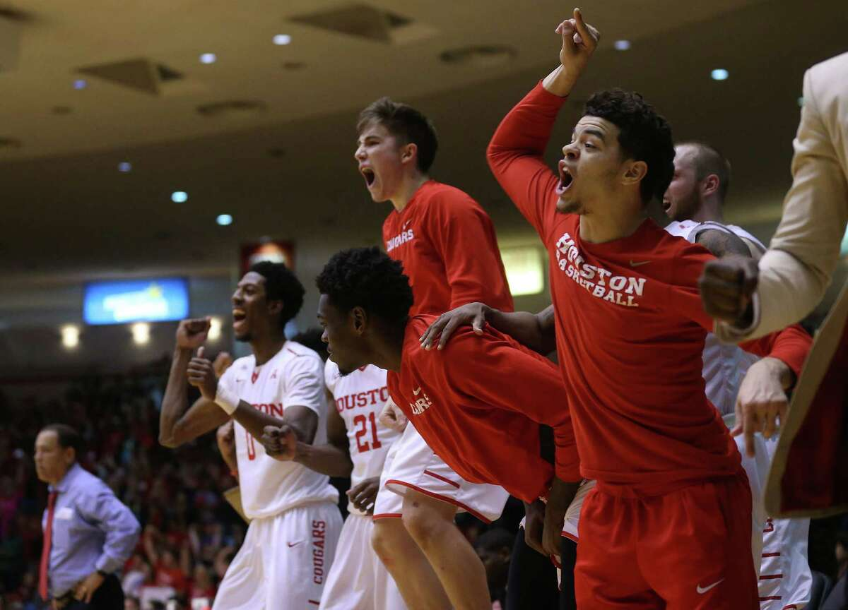 Houston Cougars bench reacts as the team pulls away from Southern Methodist Mustangs in the final minutes of game action at Hofheinz Pavilion on Monday, Feb. 1, 2016 in Houston. UH won the game 71-68.
