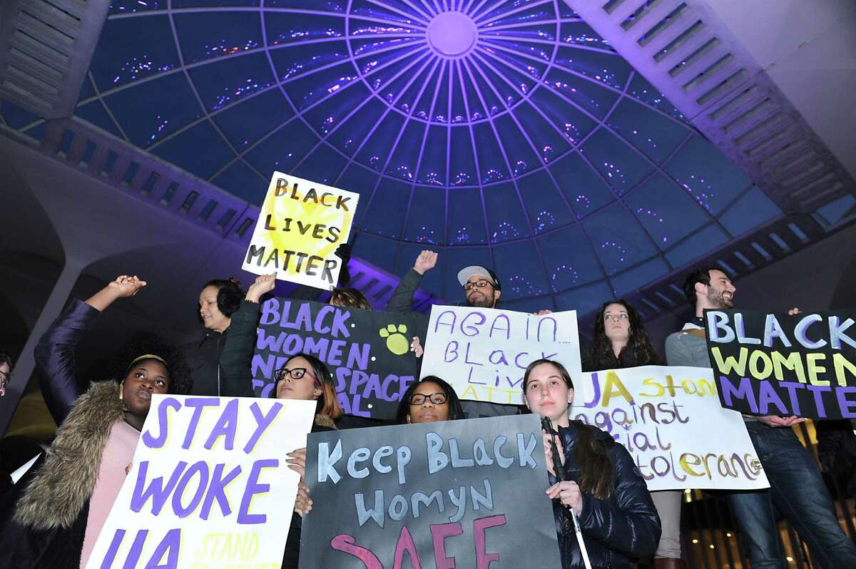 University at Albany University students, faculty and other members of the community rally on campus in response to an incident involving allegations of a racially motivated assault on three African-American students on a CDTA bus early Saturday morning on Monday, Feb. 1, 2016 in Albany, N.Y. (Lori Van Buren / Times Union)