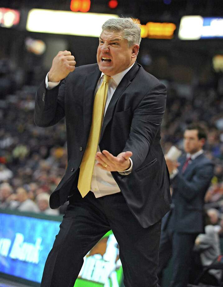 Siena head coach Jimmy Patsos is very animated on the court. Click through the slideshow to view photos of the man in action. Photo: Lori Van Buren / 10035101A