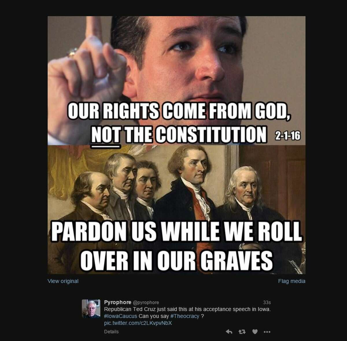 @pyrophore Republican Ted Cruz just said this at his acceptance speech in Iowa. #IowaCaucus Can you say #Theocracy? pic.twitter.com/c2LKvpvNbX