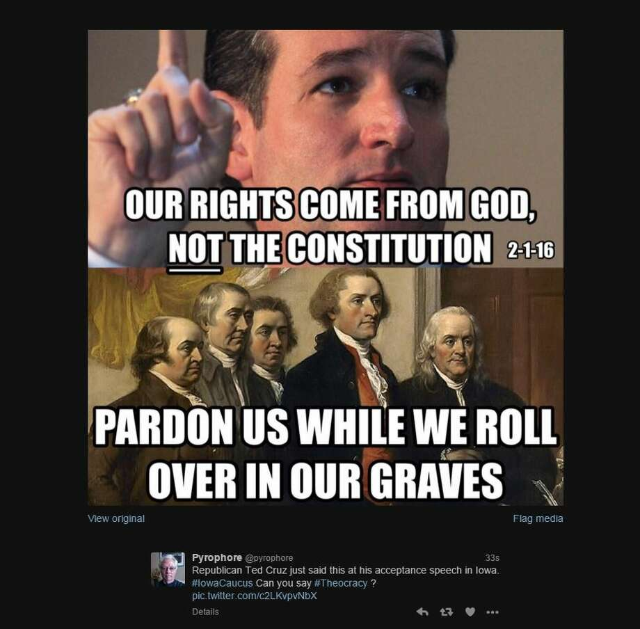 @pyrophore Republican Ted Cruz just said this at his acceptance speech in Iowa. #IowaCaucus Can you say #Theocracy? pic.twitter.com/c2LKvpvNbX Photo: Twitter Screen Shots