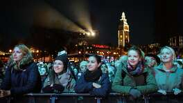 A crowd of girls gathered to stand front row and listen to Grammy-nominated singer Aloe Blacc perform at Super Bowl City on The City Stage, in San Francisco, California on Monday, February 1, 2016.