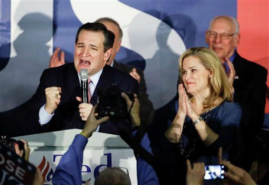 Ted Cruz thanks supporters for Monday's Iowa Caucus victory, with wife, Heidi Cruz, by his side in Des Moines. Photo: Chris Carlson, AP
