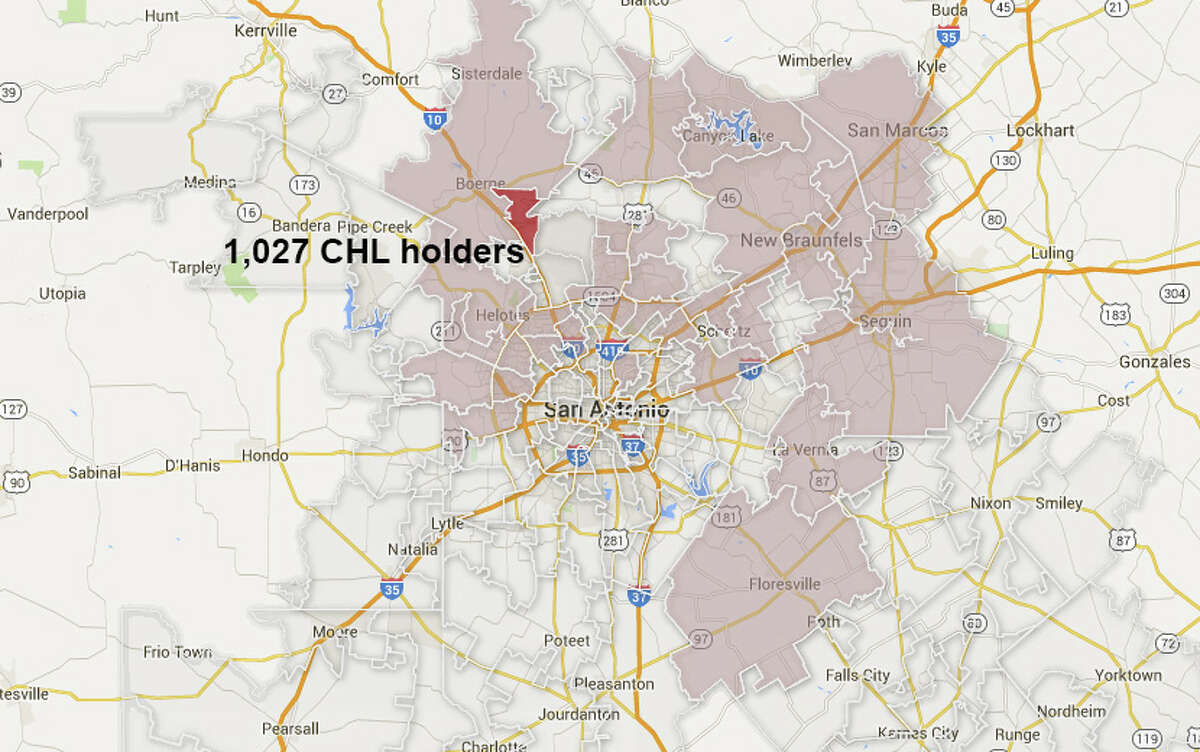 Move through the slideshow to see the map highlight the S.A. ZIPs with 1,000 CHL holders or more.ZIP code: 78015 Number of CHL holders: 1,027