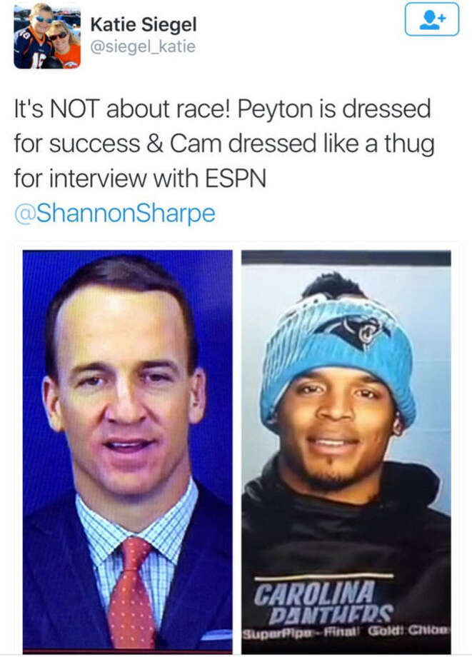 This tweet calling Cam Newton a thug because of how he dressed for an ESPN interview sparked a wave of mocking tweets showing the clothing choices for other NFL players during interviews. Photo: Twitter
