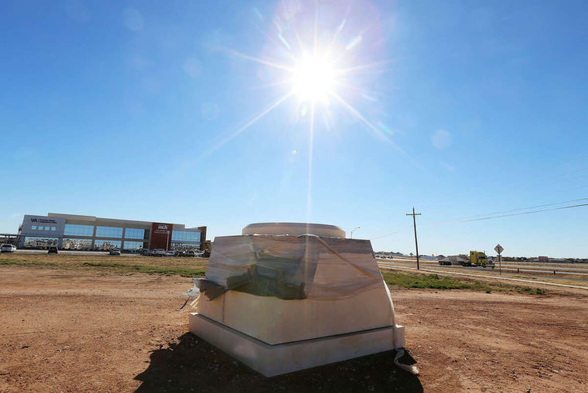 The base for the Chris Kyle memorial statue can be seen near the Veteran Affairs clinic located off of Highway 191.