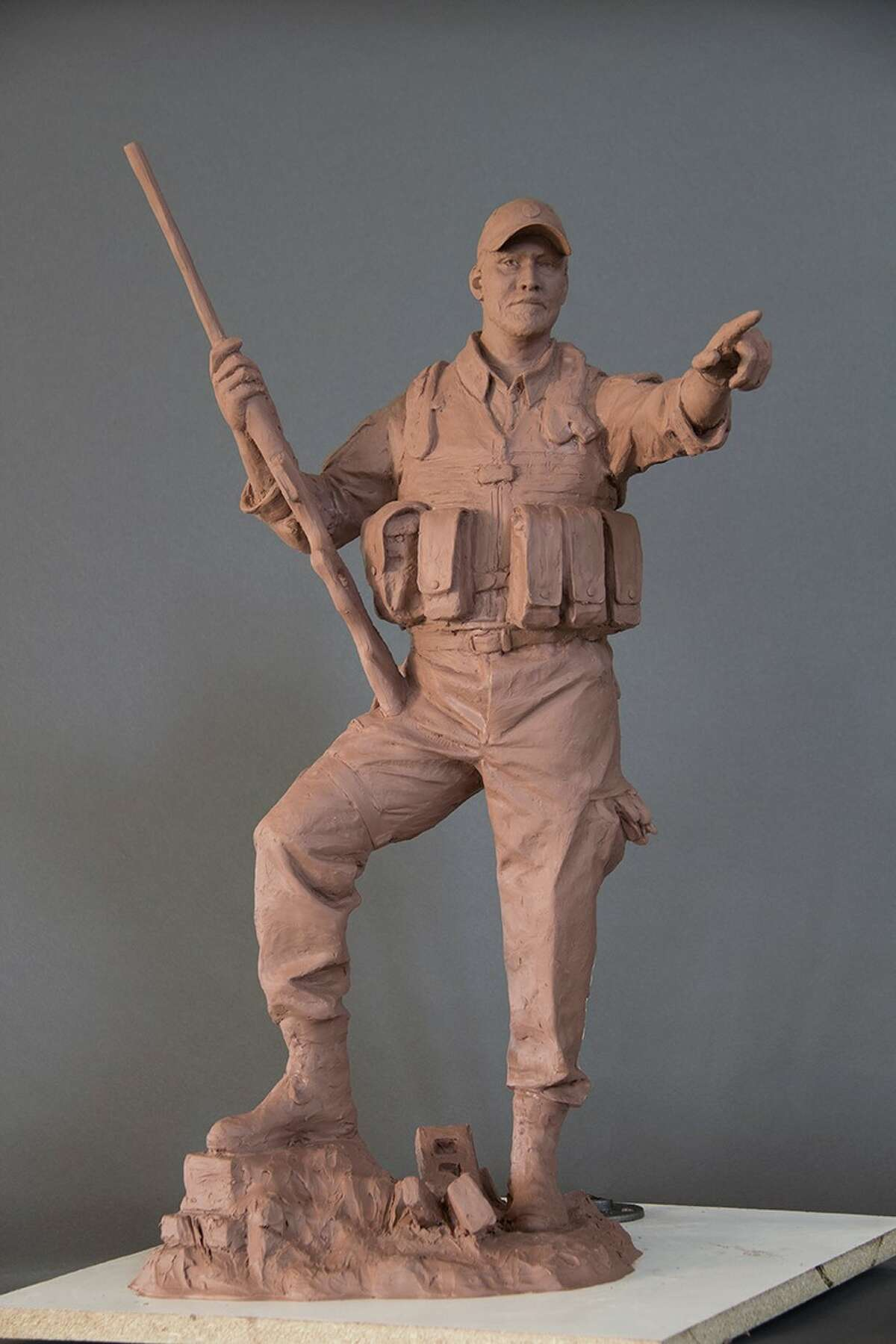 A clay mockup of the Chris Kyle statue set to be displayed in Odessa, Kyle's birthplace.
