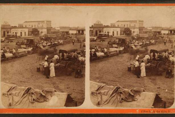 Chili-con-carne tables, Frank Hardesty: Stereoscopic views, 1876-1879
