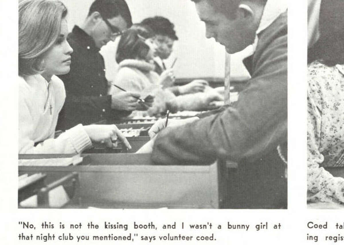 This is what flirting with a girl looked like in 1966. This is also what rejection looked like in 1966. Via Houstonian 1966.