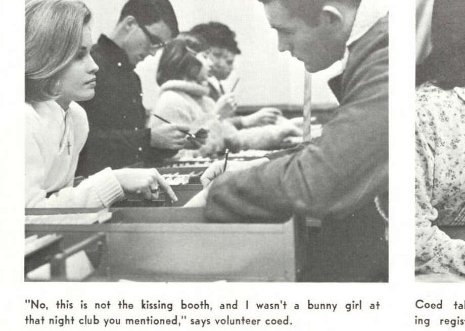 This is what flirting with a girl looked like in 1966. This is also what rejection looked like in 1966. Via Houstonian 1966. Photo: University Of Houston Digital Library
