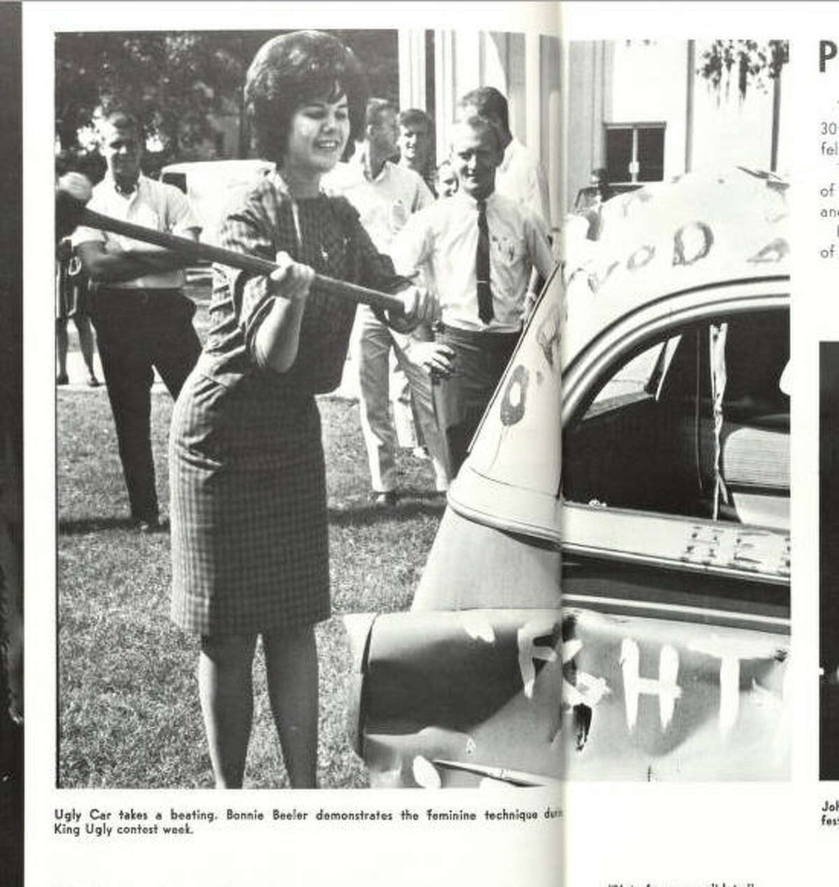 """What did women do before learning the """"feminine technique"""" for smashing a car? Via Houstonian 1966."""