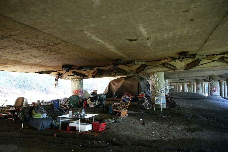 """The Jungle,"" a unauthorized homeless encampment under Interstate is shown on Feb. 2, 2016. Photo: GENNA MARTIN, SEATTLEPI.COM / SEATTLEPI.COM"