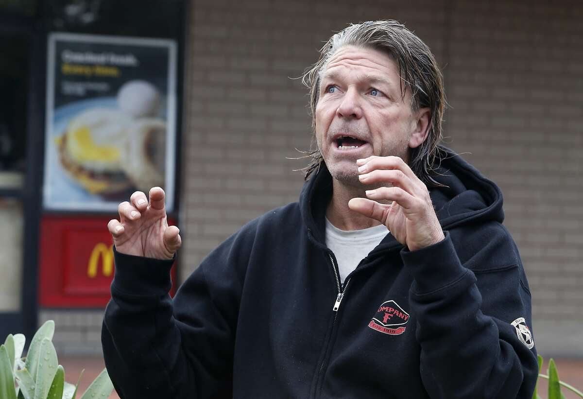 Matthew Hay-Chapman returns to the McDonald's restaurant at Haight and Stanyan streets in San Francisco, Calif. on Tuesday, Feb. 2, 2016 to describe how he spotted two of the Orange County jail escapees last Saturday and pointed them out to police, resulting in their capture.