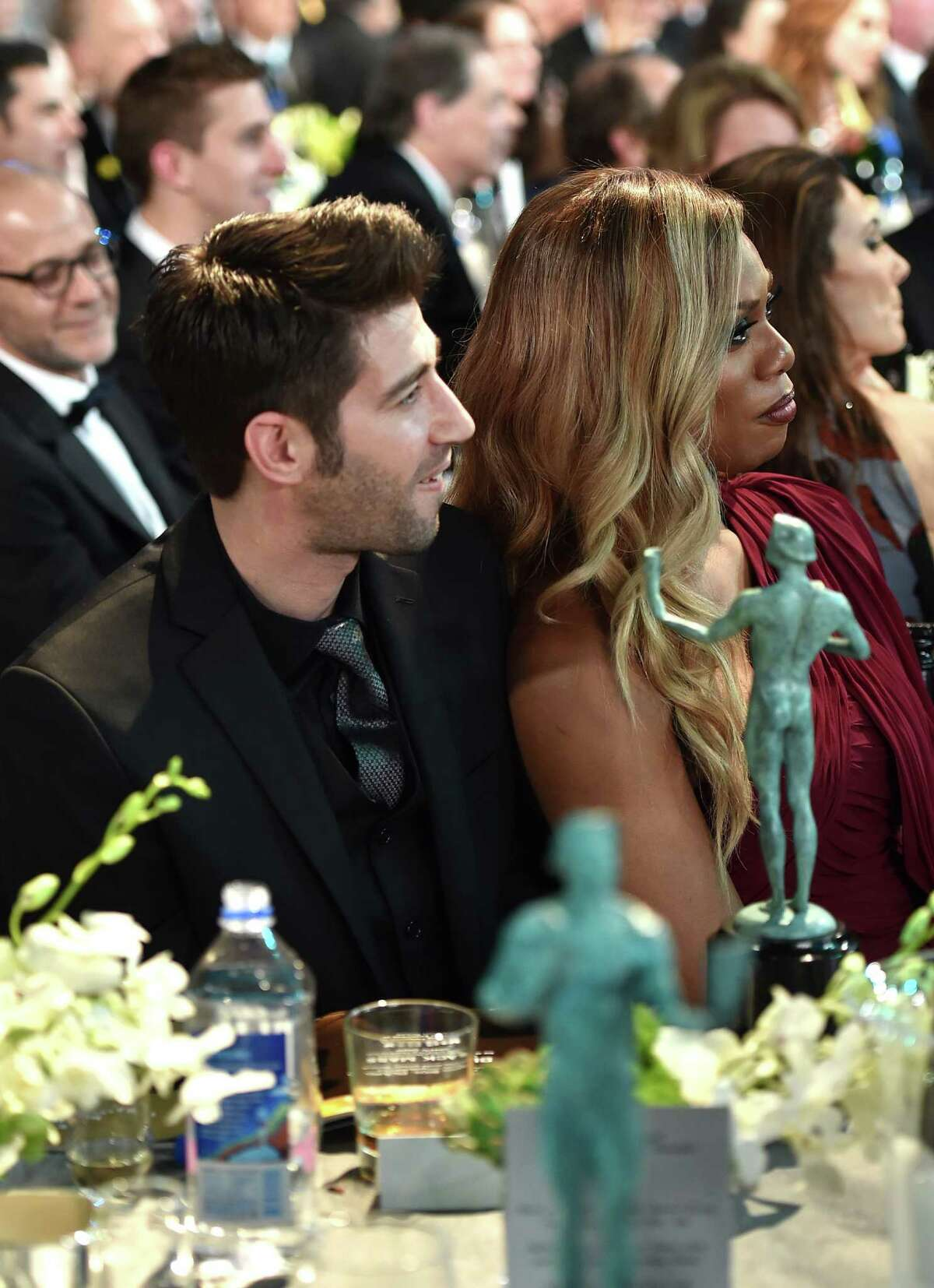 Actress Laverne Cox andJono Freedrix in the audience during the SAG Awards.