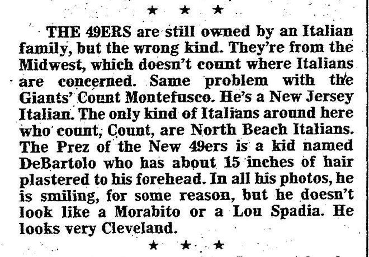 An excerpt from a Aug. 22, 1978, Herb Caen column on the 49ers, where the longtime Chronicle columnist criticizes the team's management and owner Eddie DeBartolo Jr.