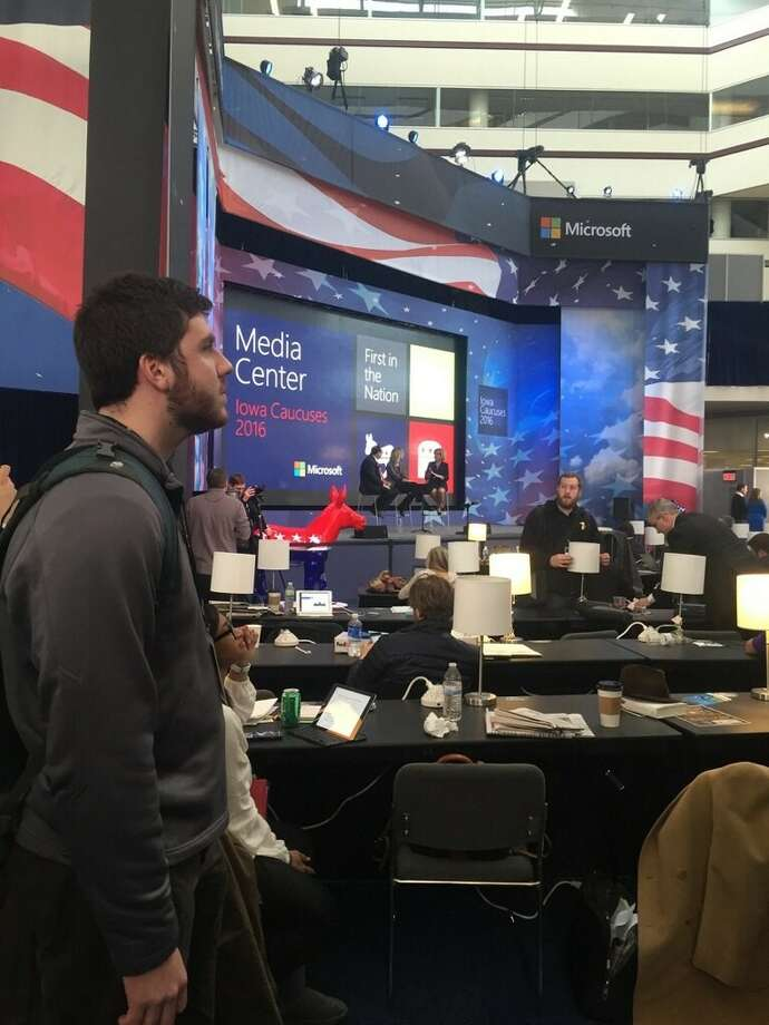 Alex Fulling, a sophomore at Wake Forest University from Roxbury, attends a media event at the Iowa caucuses on Monday. Photo: Contributed Photo