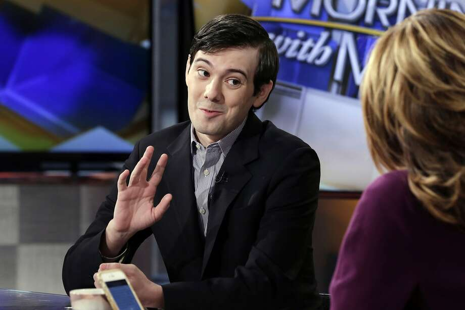 Turing Pharmaceuticals ex-CEO Martin Shkreli is interviewed by Maria Bartiromo Tuesday on the Fox Business Network. Photo: Richard Drew, Associated Press