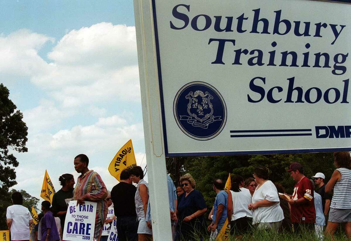 Local 1199 New England Health Care Workers demonstrated at the Southbury Training School during the summer of 1999.