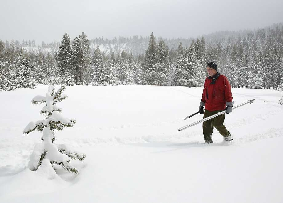 Frank Gehrke crosses a meadow to make his monthly measurement of the depth and water content of the snow. Photo: Rich Pedroncelli, Associated Press