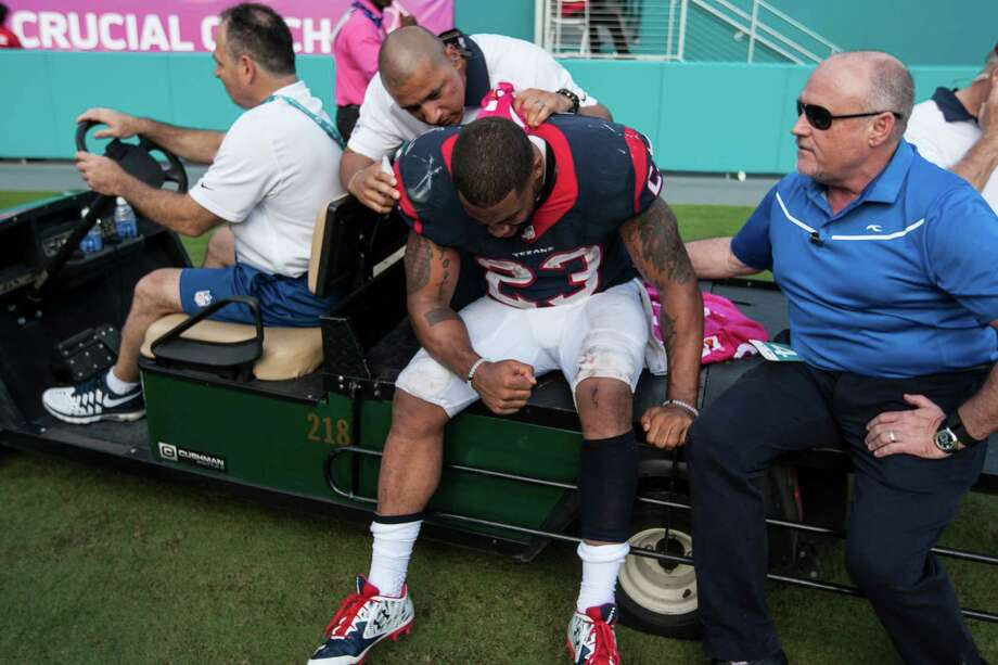 Houston Texans running back Arian Foster (23) is carted off the field after suffering an injury during the fourth quarter of an NFL football game against the Miami Dolphins at Sun Life Stadium on Sunday, Oct. 25, 2015, in Miami. ( Brett Coomer / Houston Chronicle ) Photo: Brett Coomer, Staff / © 2015  Houston Chronicle