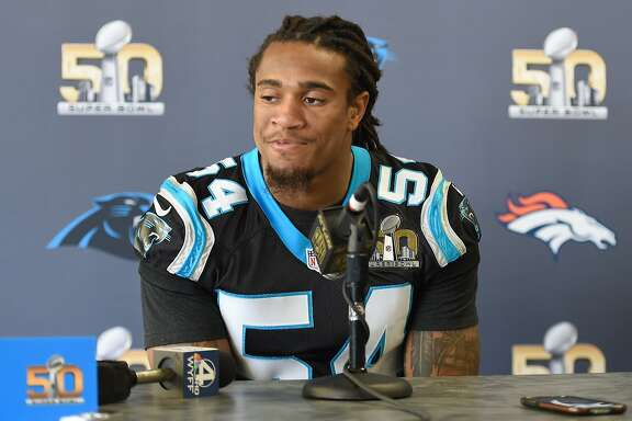 SAN JOSE, CA - FEBRUARY 02:  Line Backer Shaq Thompson #54 of the Carolina Panther addresses the media prior to Super Bowl 50 at the San Jose Convention Center/ San Jose Marriott on February 2, 2016 in San Jose, California.  (Photo by Thearon W. Henderson/Getty Images)