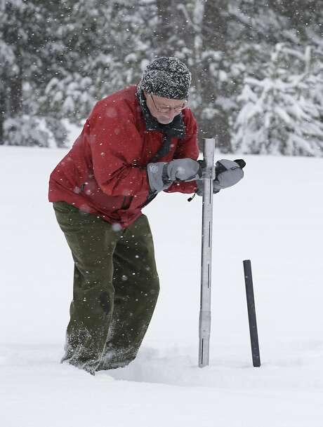 Frank Gehrke, chief of the California Cooperative Snow Surveys Program for the Department of Water Resources, plunges a survey tube into the snowpack as he conducts the second manual snow survey of the season at Phillips Station near Echo Summit, Calif., Tuesday, Feb. 2, 2016. The survey showed the snowpack at 130 percent of normal for this site at this time of year. (AP Photo/Rich Pedroncelli) Photo: Rich Pedroncelli, Associated Press